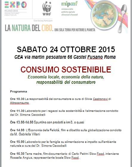 """Il programma dell'evento """"Consumo Sostenibile"""", il 24 ottobre 2015 presso il nostro CEA"""